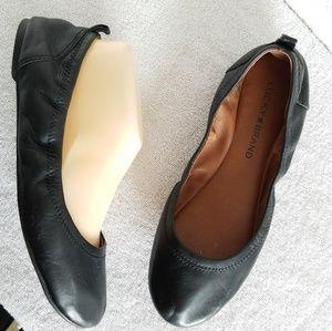 Lucky Brand Black Leather Ballet Flats Eleesia